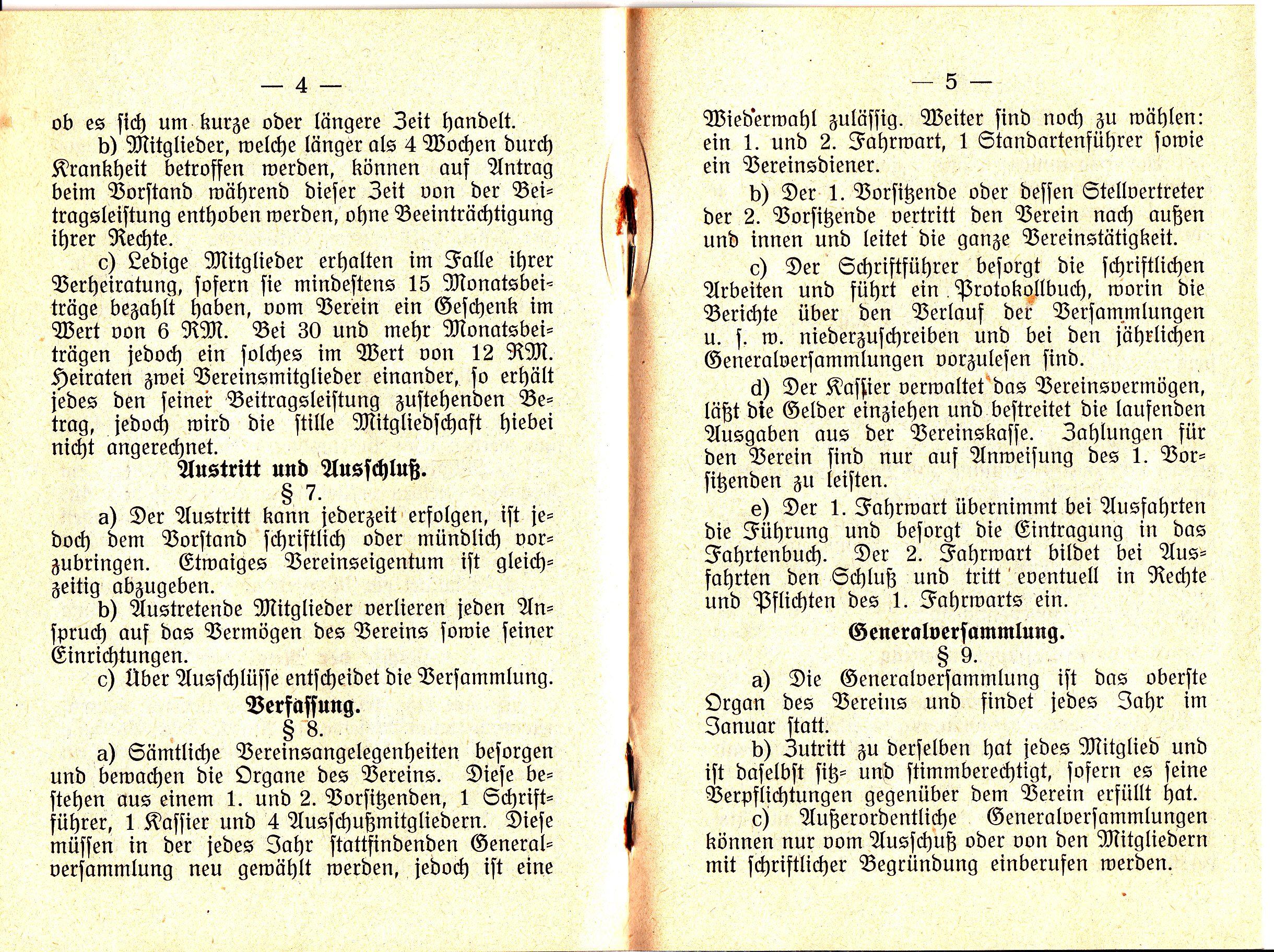 Austritt u. Ausschluß, Verfassung, Generalversammlung